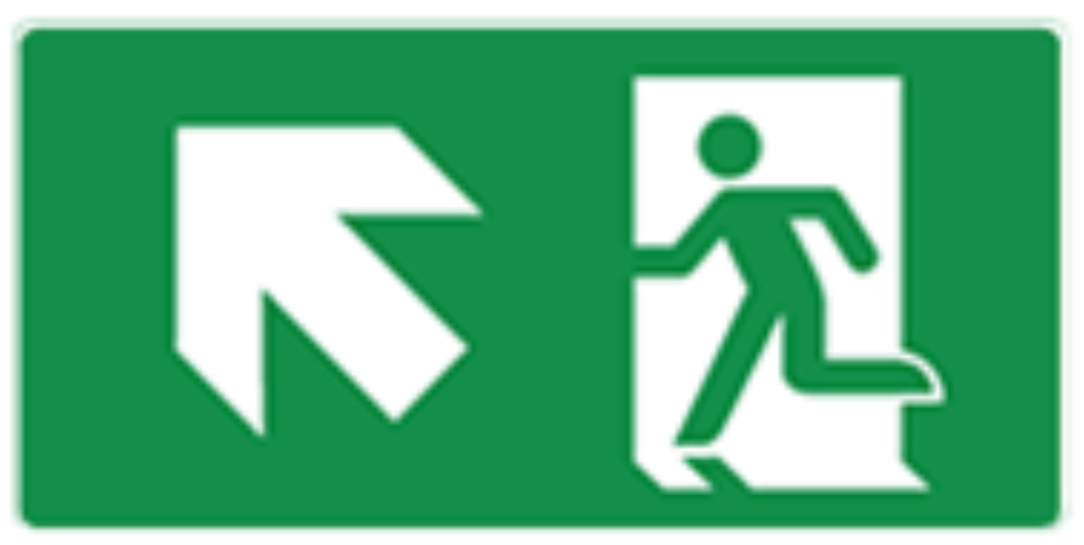 Pictogram vluchtweg trap op links